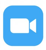 Zoom white camera icon with blue background.